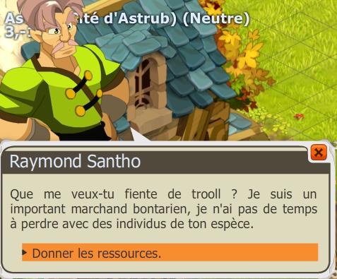 Vous gagnez 9 884 xp, 144k (lv 173) et 1 bec de Tofu. La quête est terminée  et débloque Santho le Mytho.